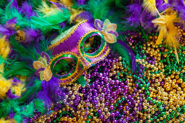 mardi gras mask, feathers and beads background