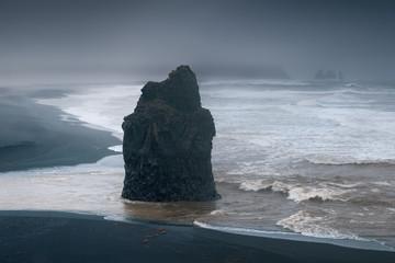 Reynisfjara black beach on the south coast of Iceland from Durholaey cliff