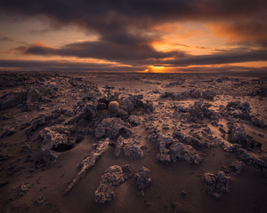 Surreal lava fields in Reykjanes peninsula on the south coast of Iceland