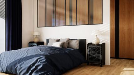 chambre avec dressing, verrière et grand lit 01
