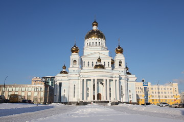 View at The Cathedral of St. Theodore Ushakov in Saransk, Russian during winter