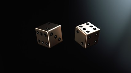 Golden Dices Isolated On The Black Background - 3D Illustration