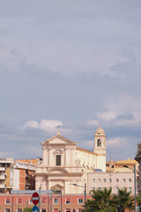 Saint Francis cathedral and cloudy sky. Civitavecchia, Italy