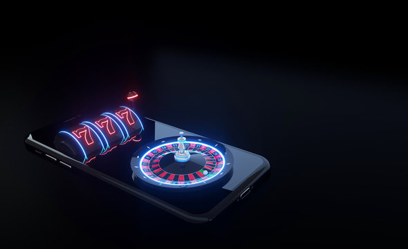 Slot Machine And Roulette Wheel On The Smartphone With Futuristic Neon Lights - 3D Illustration