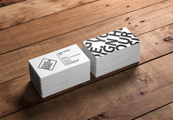 2 Stacks of Business Cards on Wooden Surface Mockup