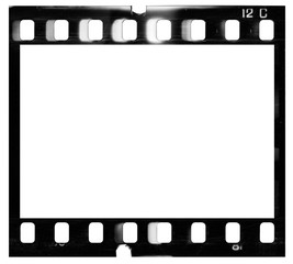Film strip template with frame, empty black and white 135 type (35mm) film with scratches, cracks and light leaks isolated on white background with work path.