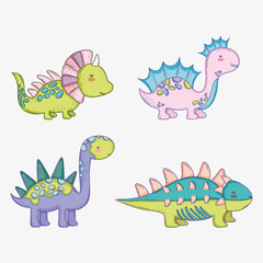 set cute styracosaurus with corythosaurus and stegosaurus with ankylosaurus