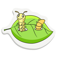 Caterpillar sticker on the background of a leaf of the tree, cartoon illustration style.