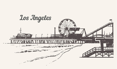 Santa Monica beach with an amusement park sketch. Los Angeles hand drawn vintage vector illustration.