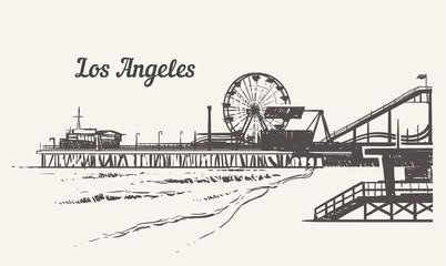 Santa Monica beach with an amusement park sketch. Los Angeles hand drawn vintage vector illustration. Wall mural
