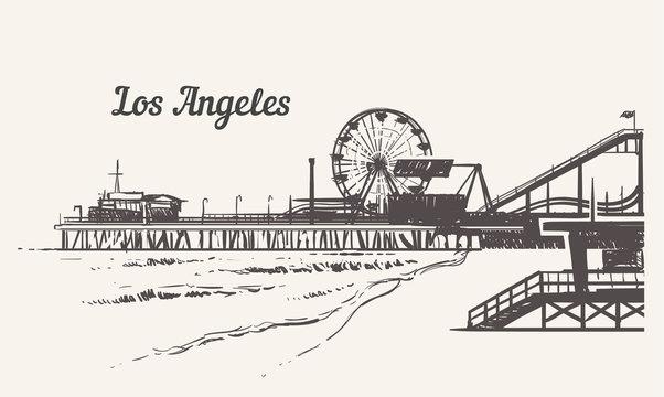 Santa Monica beach with an amusement park sketch. Los Angeles hand drawn vintage vector illustration.