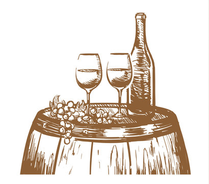 Wine hand drawn composition, glasses, a bottle of wine, and grapes on a barrel. Sketch vector illustration