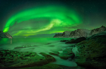 Wall Murals Northern Europe Aurora over Ersfjord