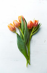 Bouquet of spring tulips on painted wooden background. Flat lay