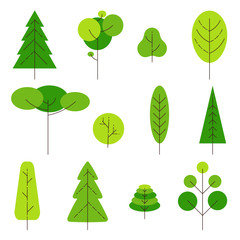 Set of different cartoon trees on a white background. Nature and ecology sign. Element for logo. Vector illustration. Vector