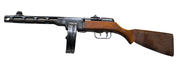 automatic rifle isolated on white background. automatic rifle from the Second World War