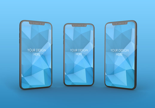 3 Vertical Black Smartphones Mockup with Editable Background