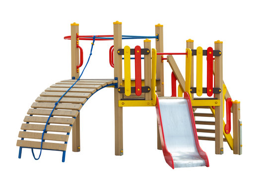 Colorful playground for children. Isolated on white