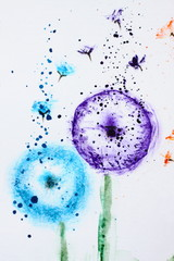 Watercolor painting and floral background flowers dandelions.