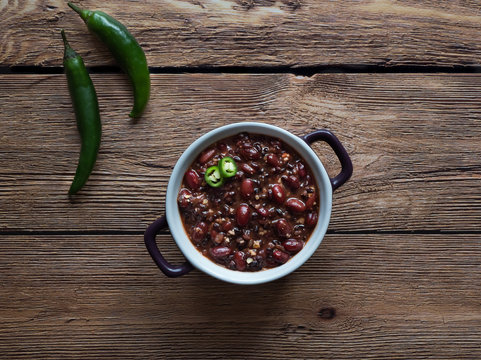 Red beans with quinoa and chili. Mexican cuisine.