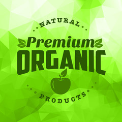 Organic natural food logo green triangle pattern