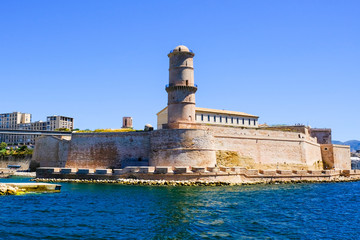 Marseille. Fortification Fort Saint-Jean in sunny day, view from Old port of Marseille.