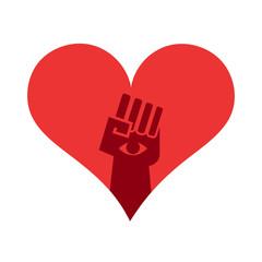 Power, revolution fist insde a heart shape