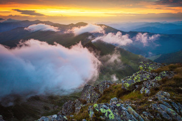 Acrylic Prints Coral Above the clouds mountain sunset landscape in Romania
