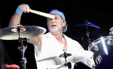 Drummer Chad Smith of the Red Hot Chili Peppers performs at Egypt's Giza pyramids, on the outskirts of Cairo