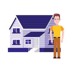 man standing near house