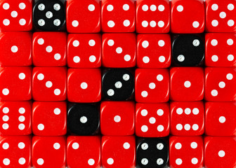 Background of random ordered red dices with five black cubes