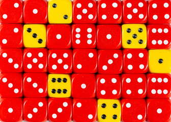 Background of random ordered red dices with six yellow cubes