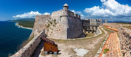 Wide Panoramic View of Castillo del Morro or San Pedro de la Roca Castle Fort on Santiago de Cuba coast, a World Unesco Heritage Site Fotomurales