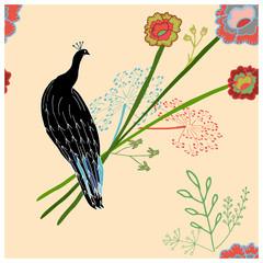 Peacock illustration endless texture pattern.