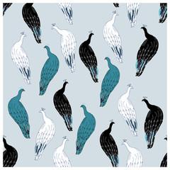 Peacocks illustration endless texture pattern.