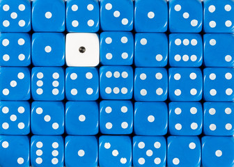 Background of random ordered blue dices with one white cube