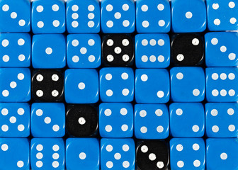 Background of random ordered blue dices with five black cubes