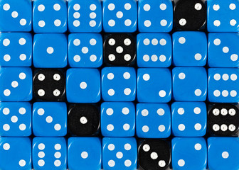 Background of random ordered blue dices with six black cubes