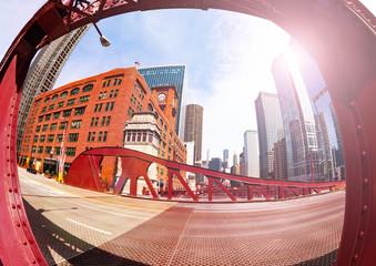 Fisheye image of bridge in Chicago city downtown