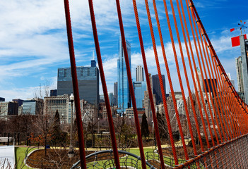 Playground and city of Chicago view skyline