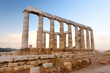 The Ancient Greek temple of Poseidon at Cape Sounion, one of the major monuments of the Golden Age of Athens.