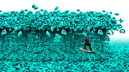 Big data driving concept. Surfing business man riding dollar bill surfboard with the tsunami wave of computer data, huge amount of numbers and letters, isolated on white background. Wall mural