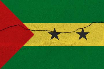 Sao Tome and Principe flag on concrete wall with crack