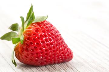 Fresh Strawberries on a White Wood Background