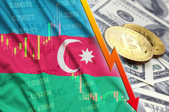 Azerbaijan flag and cryptocurrency falling trend with two bitcoins on dollar bills