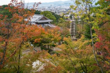 View of Kyoto in autumn at Kiyomizu-dera Buddhist Temple Garden, in Kyoto, Japan.
