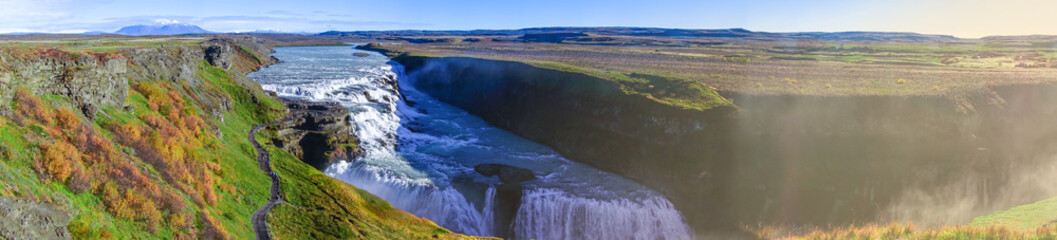 Beautiful panoramic view of Gullfoss waterfall.This waterfall very huge.Most of the time use for advertising and film entertainment scene for Heaven and Wall mural