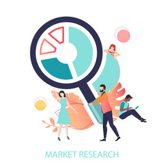 Market research and marketing strategy. Vector illustration with magnifier and people.