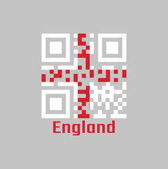 QR code set the color of England flag, it is a red centred cross on a white background,