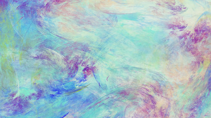 Fantastic blue and pink clouds. Abstract painted grunge texture. Fractal background. Digital art. 3D rendering.